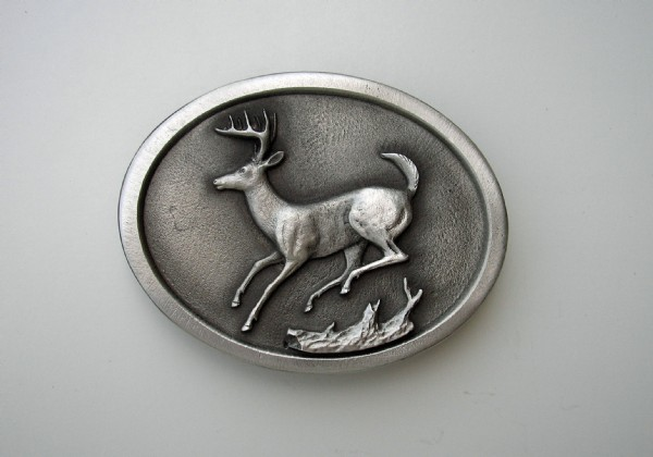 Whitetail Jumping Pewter Buckle A-7