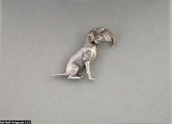 Sterling Silver Lab with Duck Lapel Pin-Hat Pin/Tie Tack